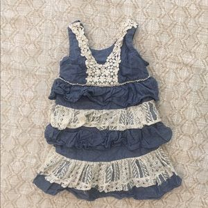 4/$25 Iris & ivy denim crochet trim dress 3T